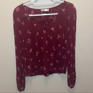 {HOLLISTER} Floral Cross Over Long Sleeve Blouse